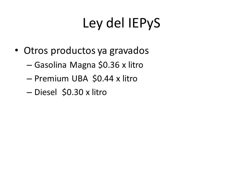 Ley del IEPyS Otros productos ya gravados Gasolina Magna $0.36 x litro