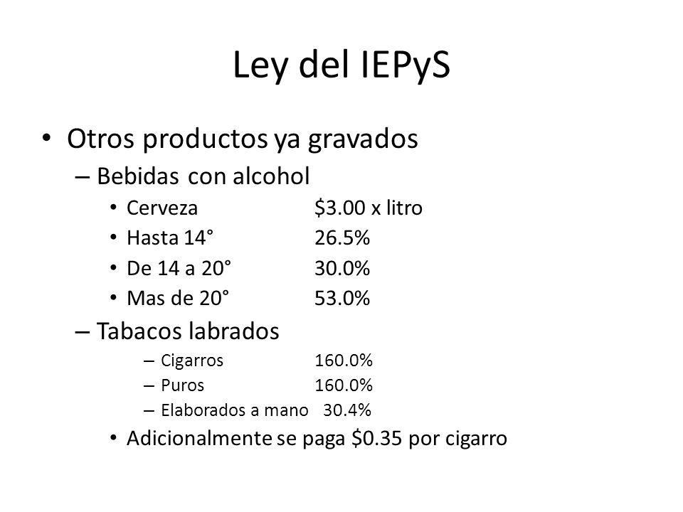 Ley del IEPyS Otros productos ya gravados Bebidas con alcohol
