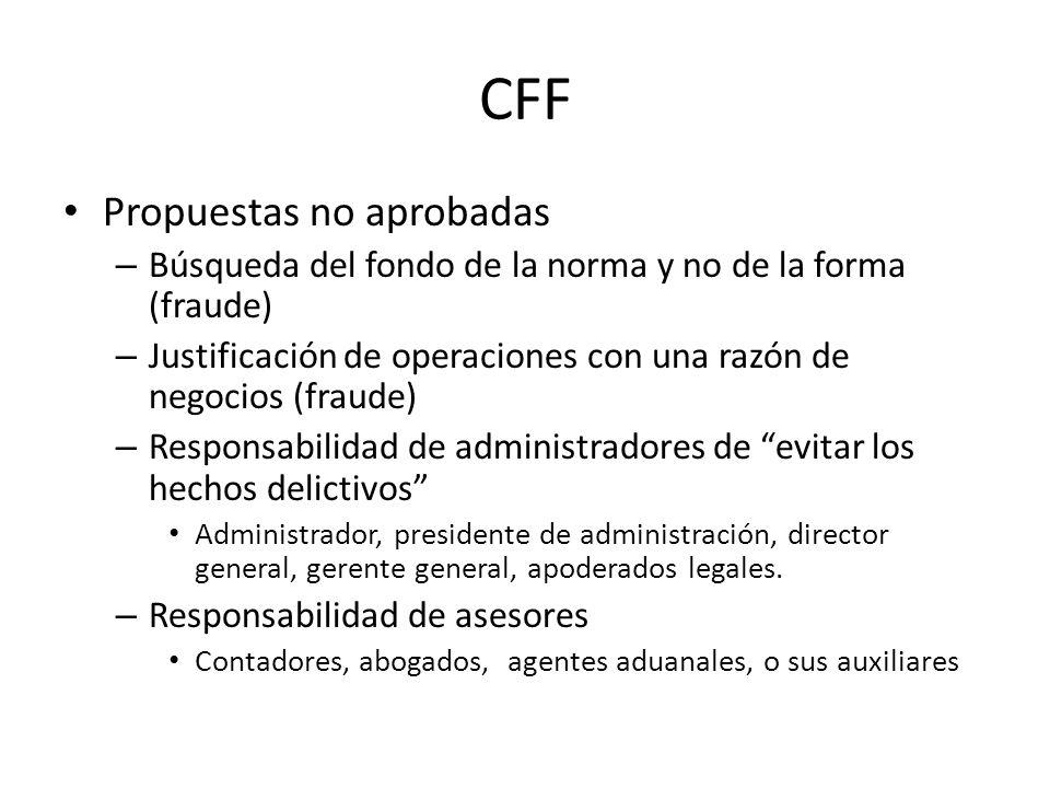 CFF Propuestas no aprobadas