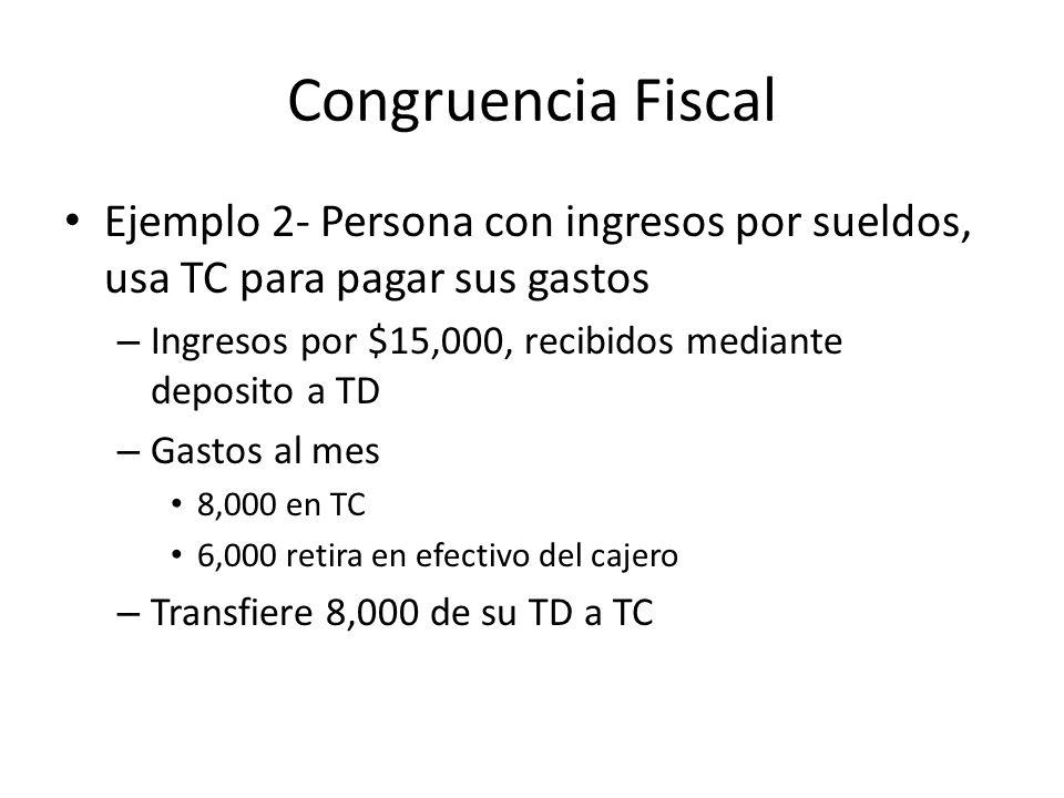 Congruencia Fiscal Ejemplo 2- Persona con ingresos por sueldos, usa TC para pagar sus gastos. Ingresos por $15,000, recibidos mediante deposito a TD.