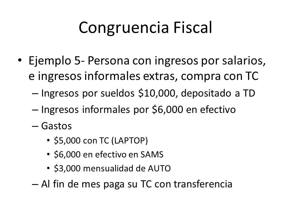 Congruencia Fiscal Ejemplo 5- Persona con ingresos por salarios, e ingresos informales extras, compra con TC.