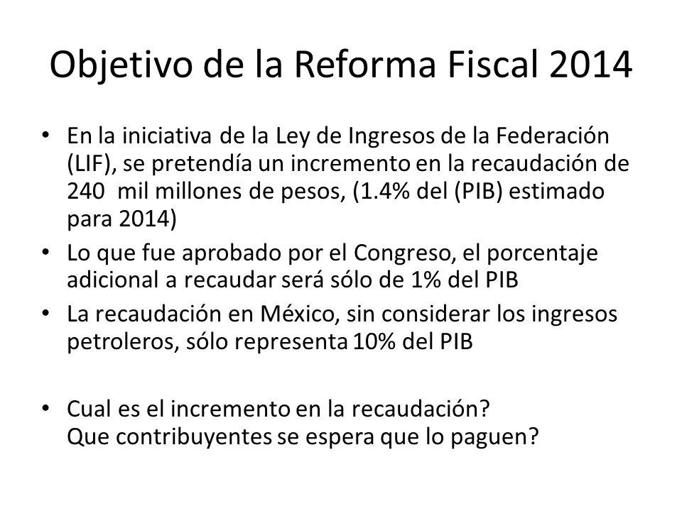 Objetivo de la Reforma Fiscal 2014