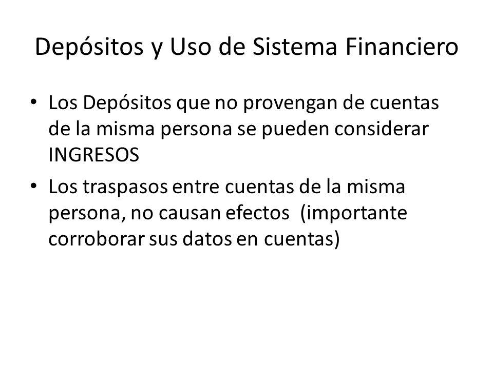 Depósitos y Uso de Sistema Financiero