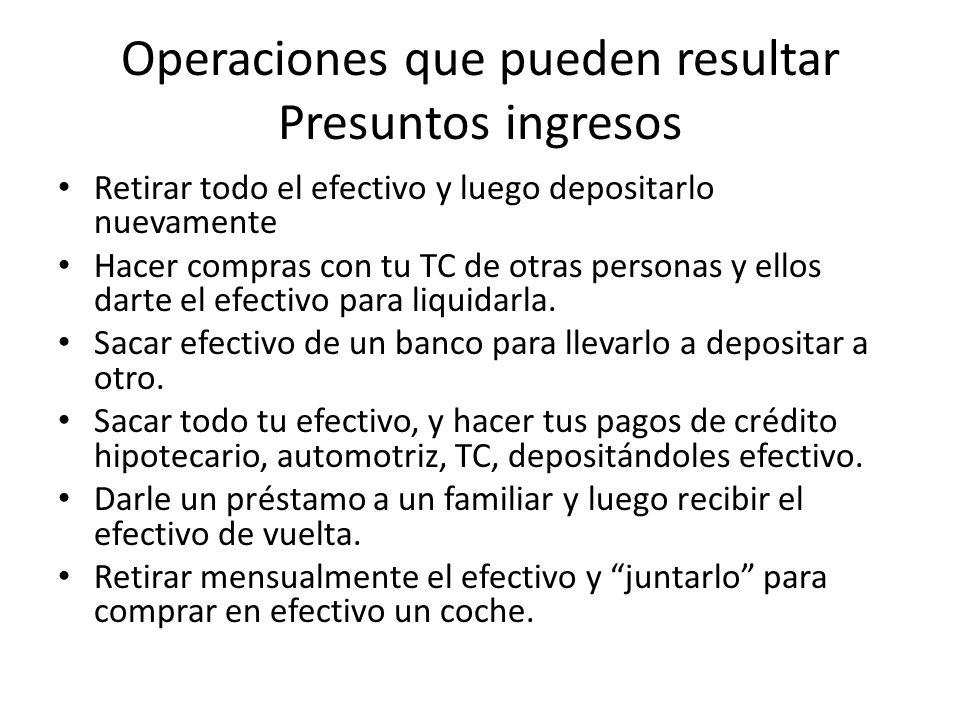 Operaciones que pueden resultar Presuntos ingresos