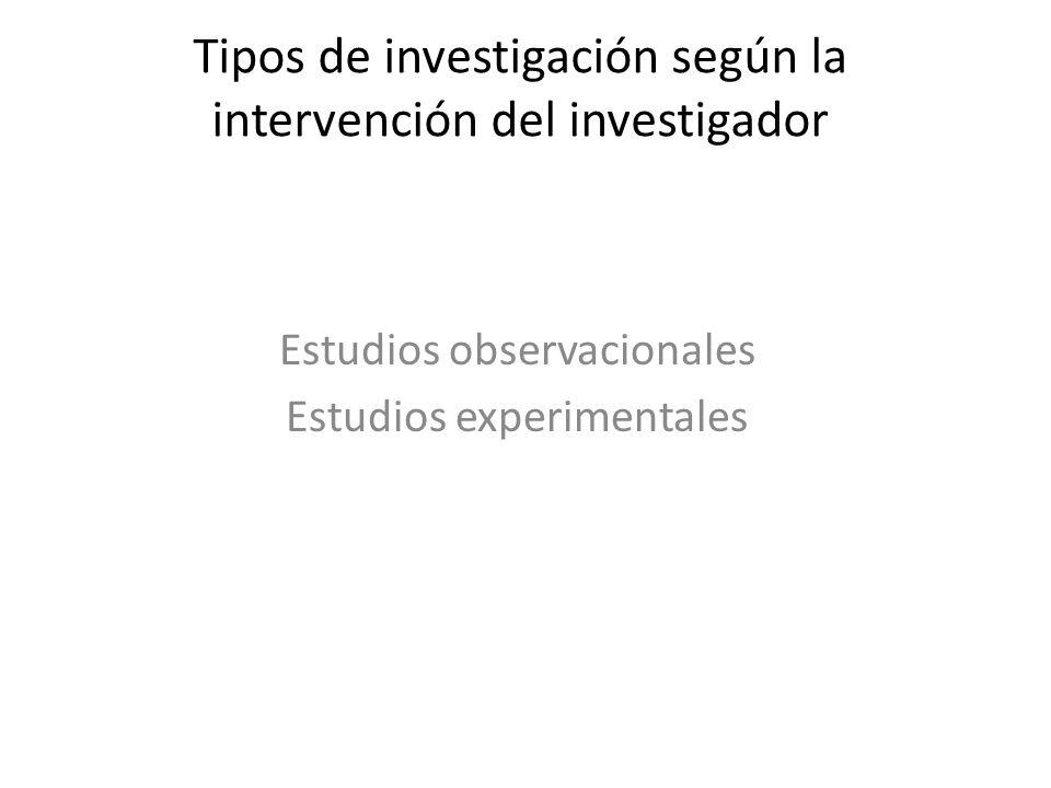 Tipos de investigación según la intervención del investigador