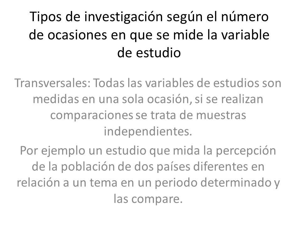 Tipos de investigación según el número de ocasiones en que se mide la variable de estudio