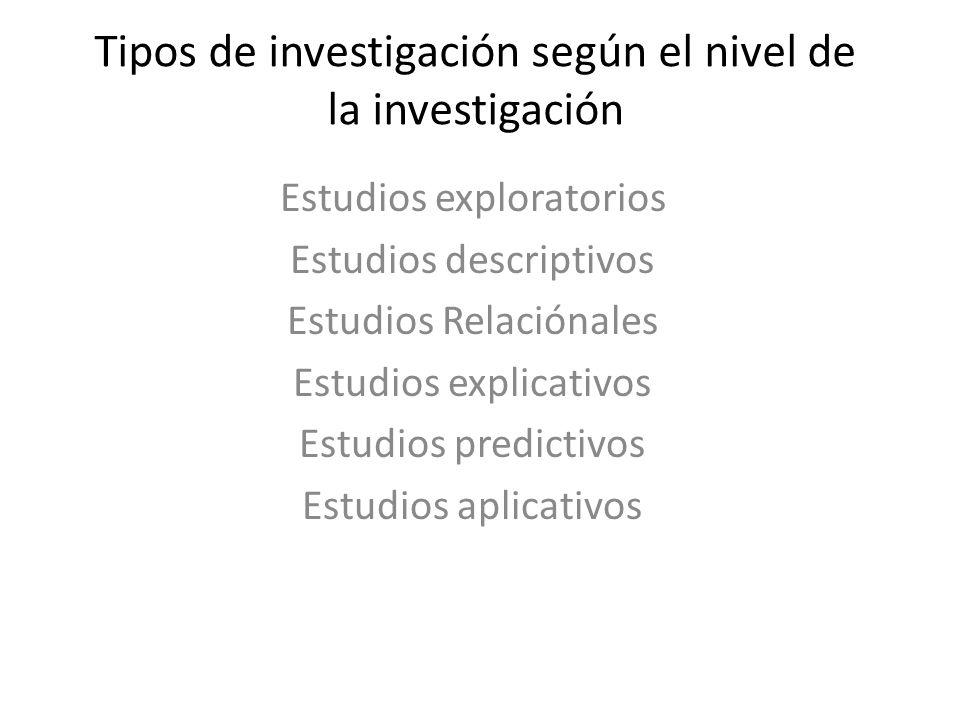 Tipos de investigación según el nivel de la investigación