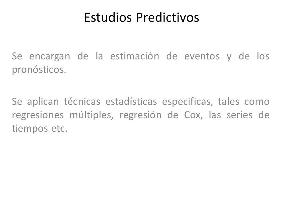 Estudios Predictivos Se encargan de la estimación de eventos y de los pronósticos.