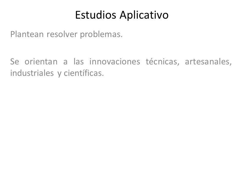 Estudios Aplicativo Plantean resolver problemas.