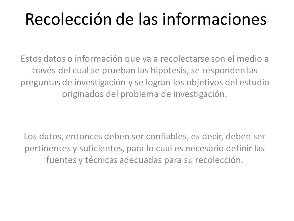 Recolección de las informaciones