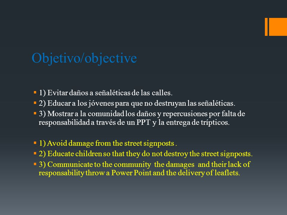 Objetivo/objective 1) Evitar daños a señaléticas de las calles.