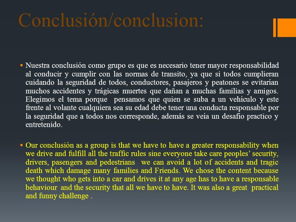 Conclusión/conclusion: