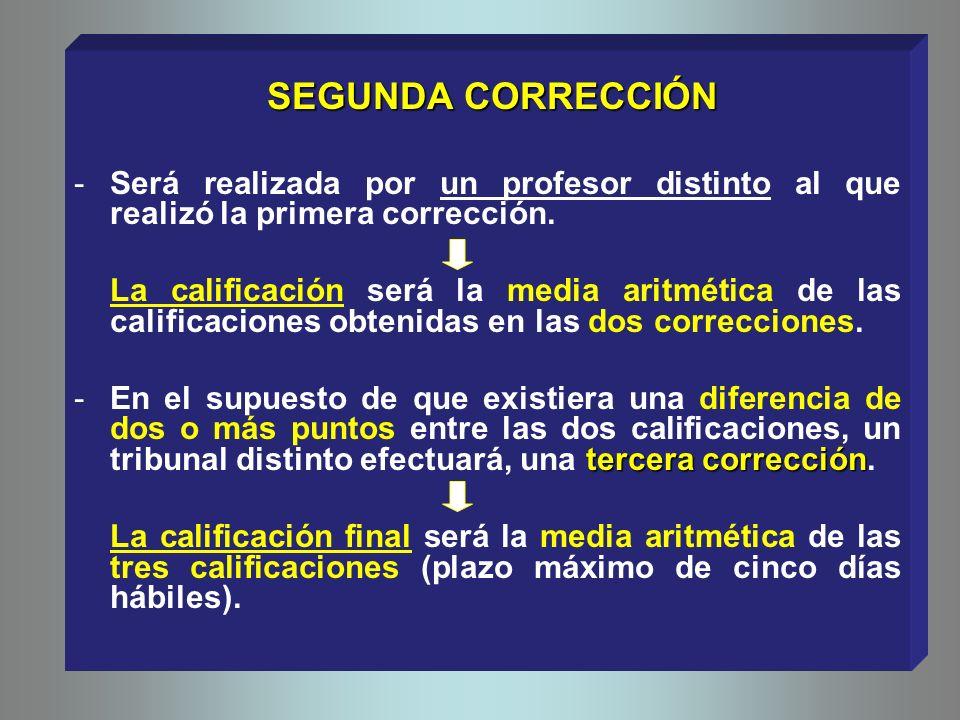 SEGUNDA CORRECCIÓN Será realizada por un profesor distinto al que realizó la primera corrección.