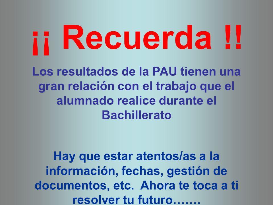 ¡¡ Recuerda !! Los resultados de la PAU tienen una gran relación con el trabajo que el alumnado realice durante el Bachillerato.