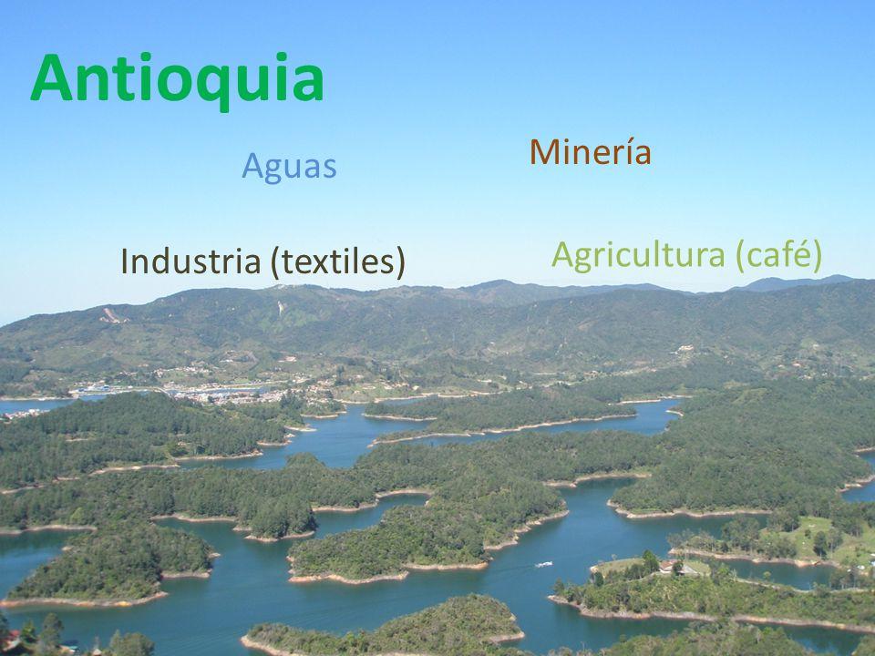 Antioquia Minería Aguas Agricultura (café) Industria (textiles)