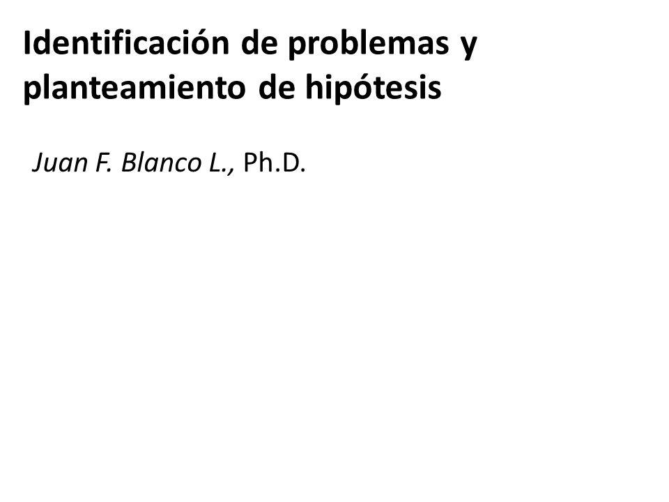 Identificación de problemas y planteamiento de hipótesis