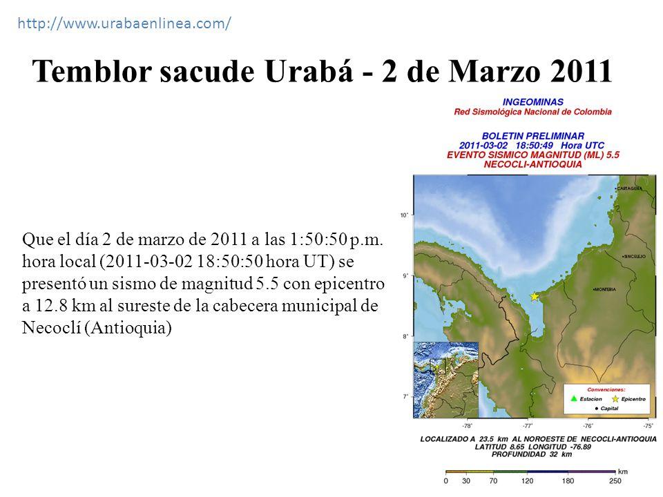 Temblor sacude Urabá - 2 de Marzo 2011