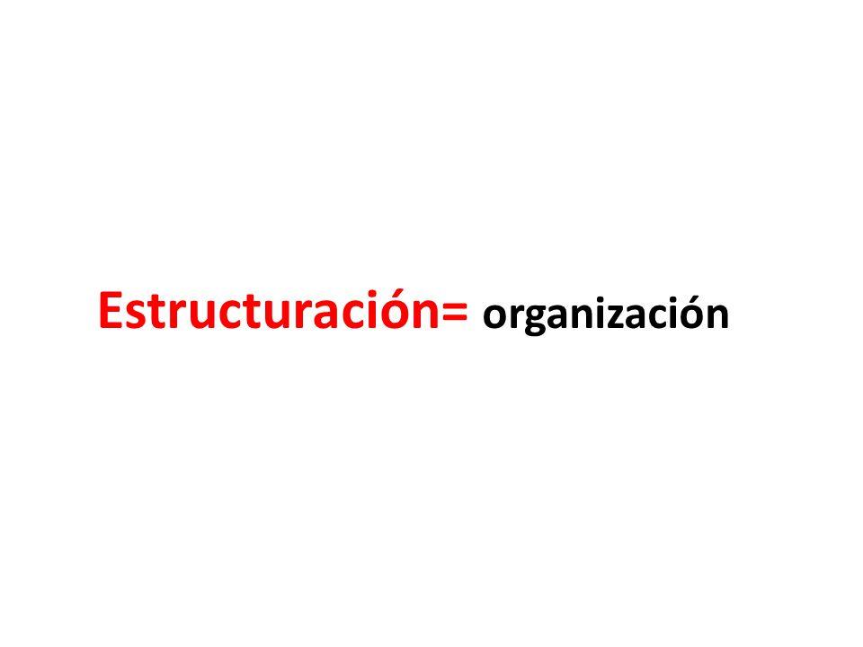 Estructuración= organización