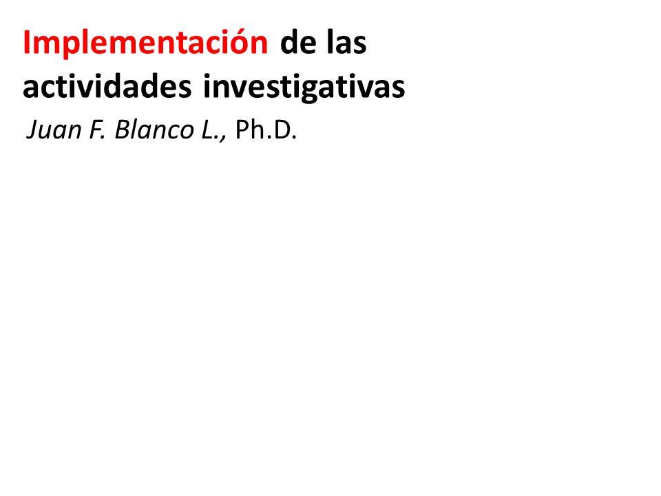 Implementación de las actividades investigativas