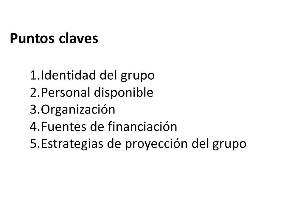 Puntos claves Identidad del grupo Personal disponible Organización