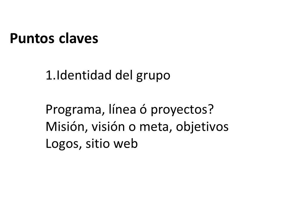 Puntos claves Identidad del grupo Programa, línea ó proyectos