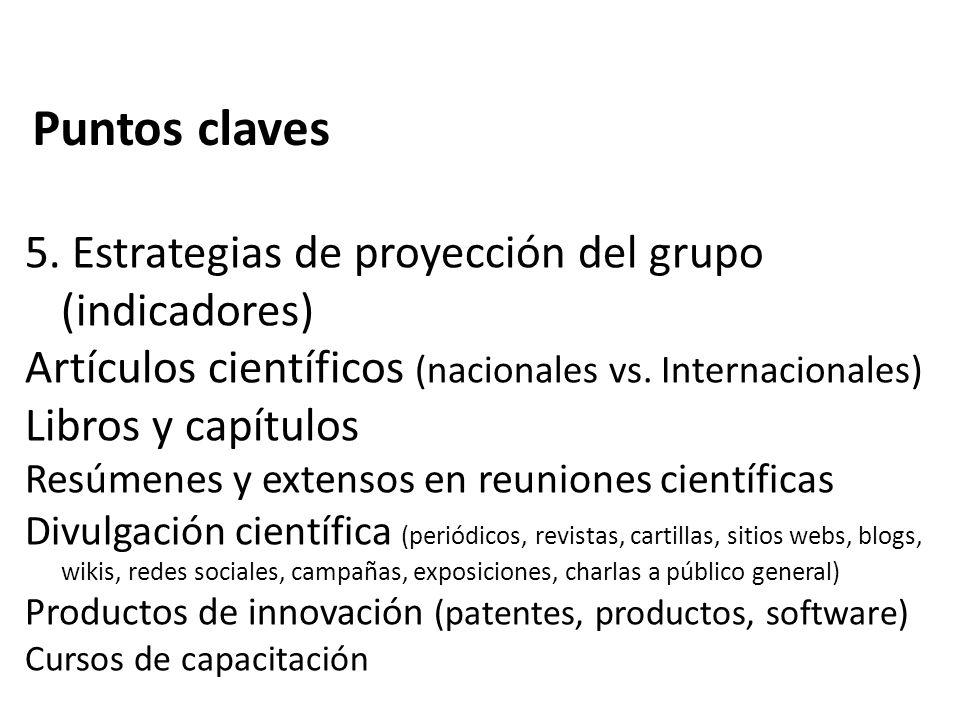 Puntos claves 5. Estrategias de proyección del grupo (indicadores)