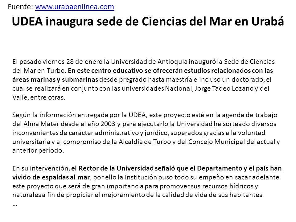 UDEA inaugura sede de Ciencias del Mar en Urabá