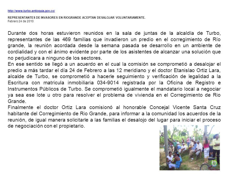 http://www.turbo-antioquia.gov.co/ REPRESENTANTES DE INVASORES EN RIOGRANDE ACEPTAN DESALOJAR VOLUNTARIAMENTE.
