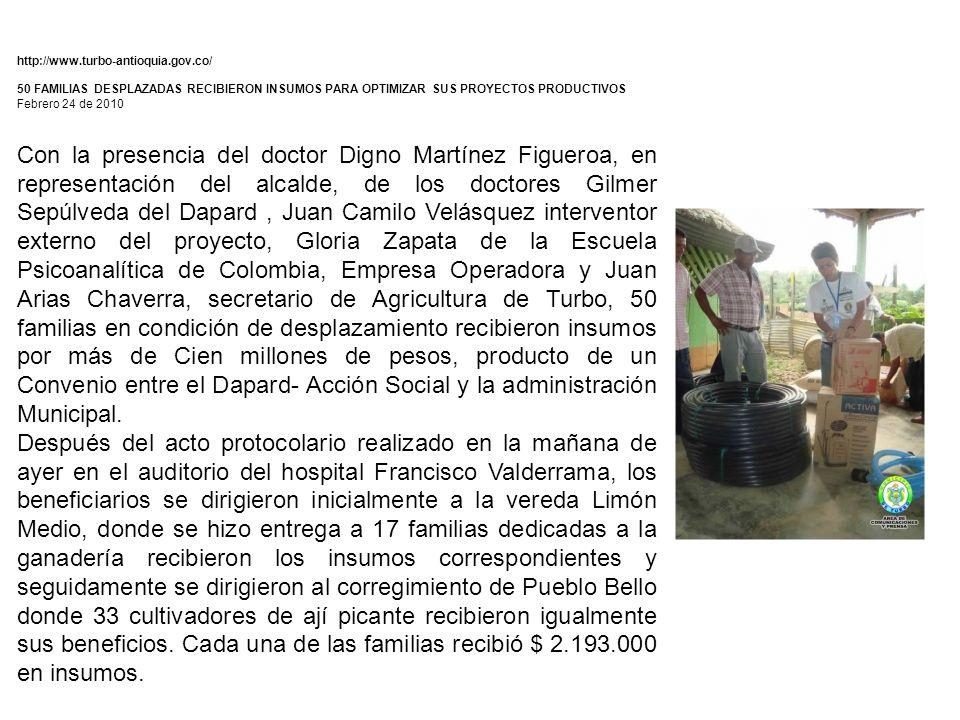 http://www.turbo-antioquia.gov.co/ 50 FAMILIAS DESPLAZADAS RECIBIERON INSUMOS PARA OPTIMIZAR SUS PROYECTOS PRODUCTIVOS.