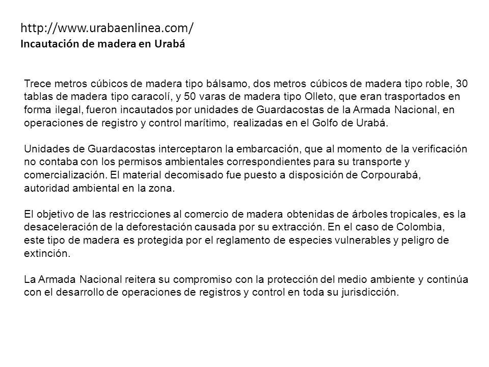http://www.urabaenlinea.com/ Incautación de madera en Urabá
