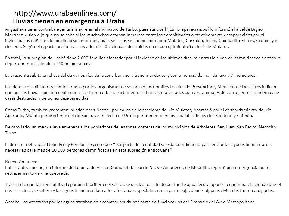 http://www.urabaenlinea.com/ Lluvias tienen en emergencia a Urabá