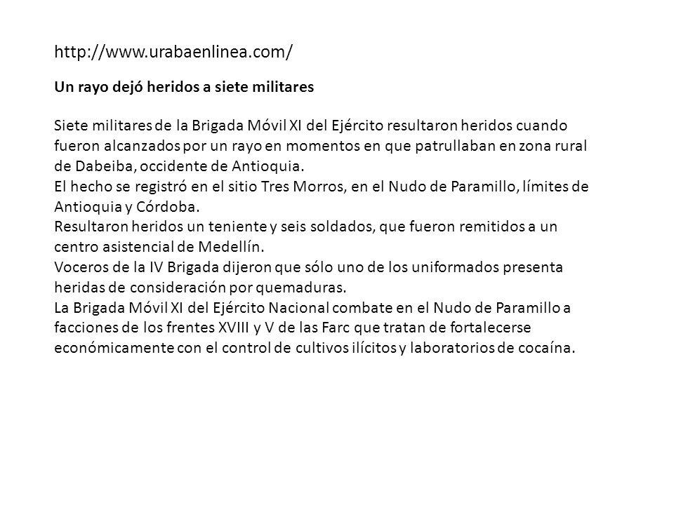 http://www.urabaenlinea.com/ Un rayo dejó heridos a siete militares