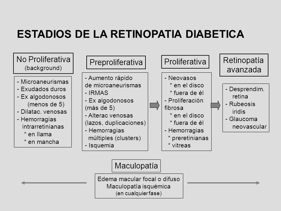 ESTADIOS DE LA RETINOPATIA DIABETICA