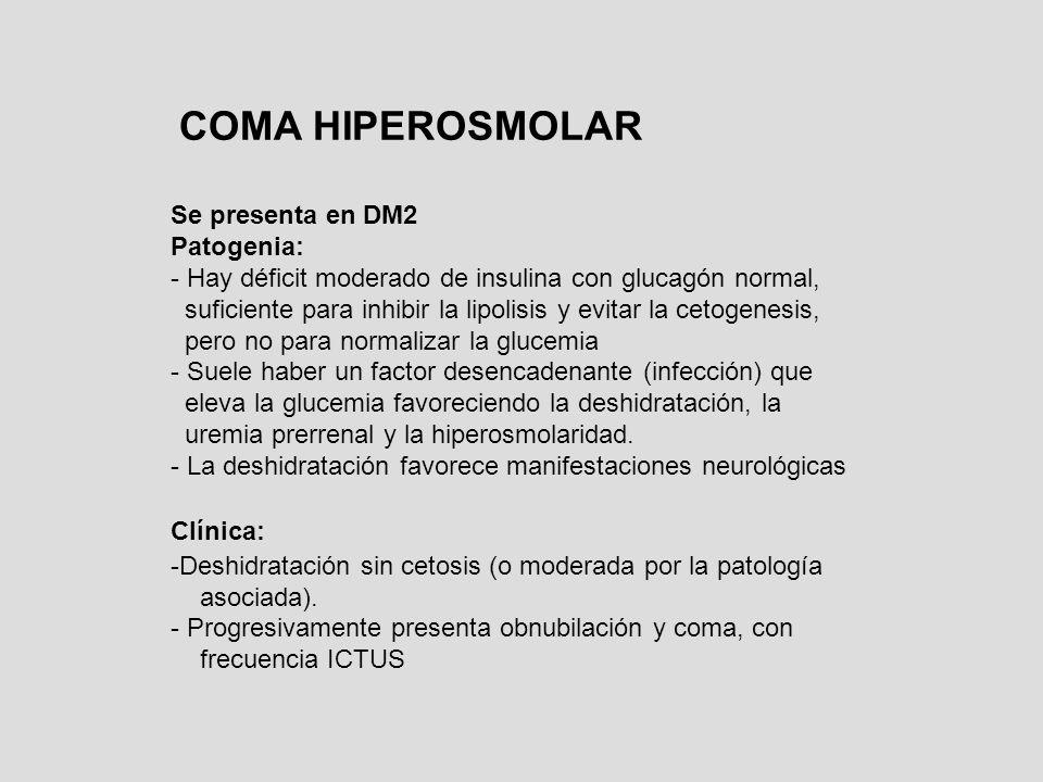 COMA HIPEROSMOLAR Se presenta en DM2 Patogenia: