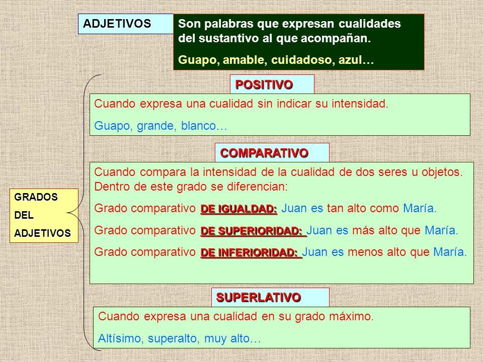 Son palabras que expresan cualidades del sustantivo al que acompañan.