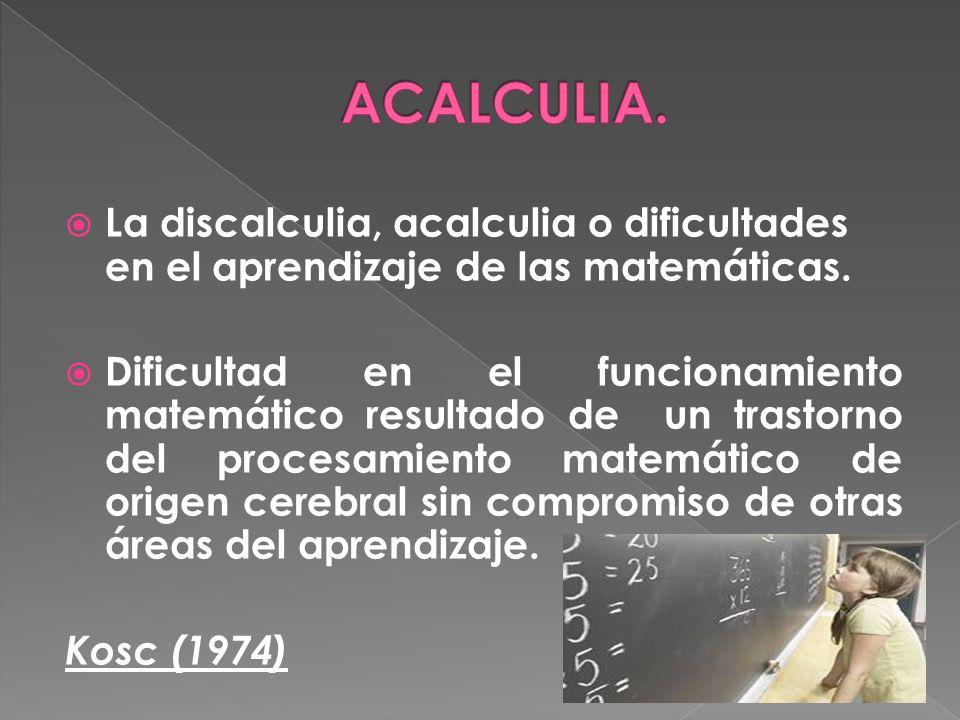 ACALCULIA. La discalculia, acalculia o dificultades en el aprendizaje de las matemáticas.