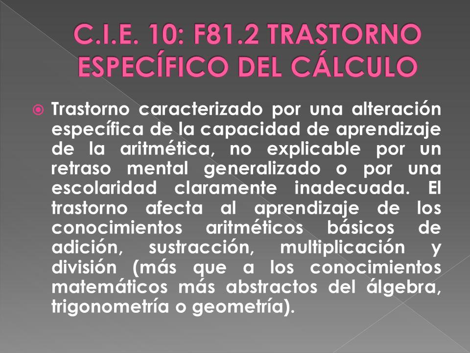 C.I.E. 10: F81.2 TRASTORNO ESPECÍFICO DEL CÁLCULO
