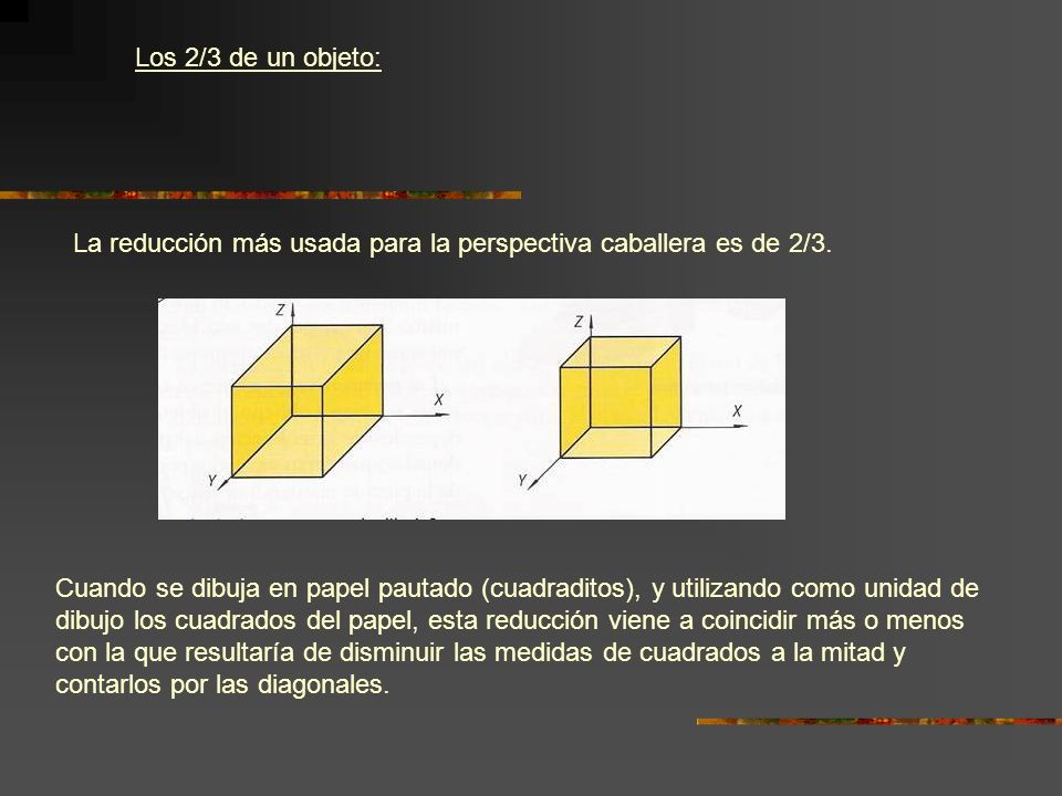 Los 2/3 de un objeto: La reducción más usada para la perspectiva caballera es de 2/3.