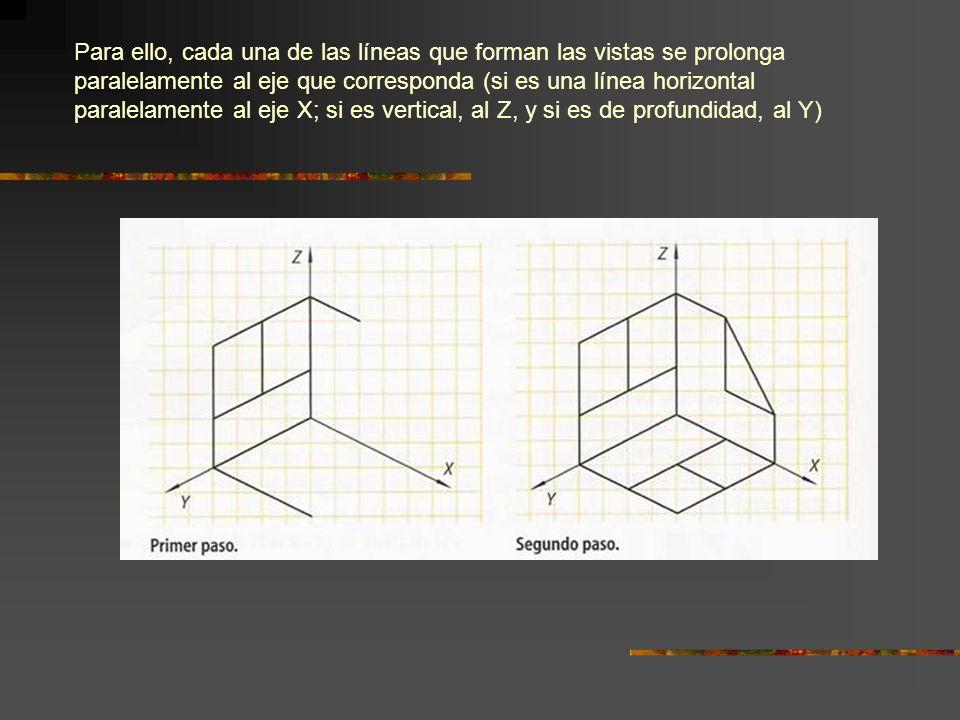 Para ello, cada una de las líneas que forman las vistas se prolonga paralelamente al eje que corresponda (si es una línea horizontal paralelamente al eje X; si es vertical, al Z, y si es de profundidad, al Y)