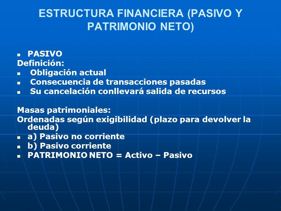 ESTRUCTURA FINANCIERA (PASIVO Y PATRIMONIO NETO)