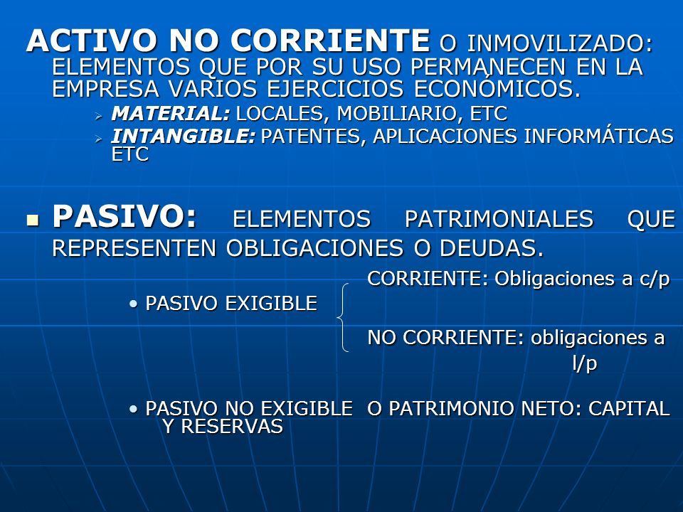 NO CORRIENTE: obligaciones a
