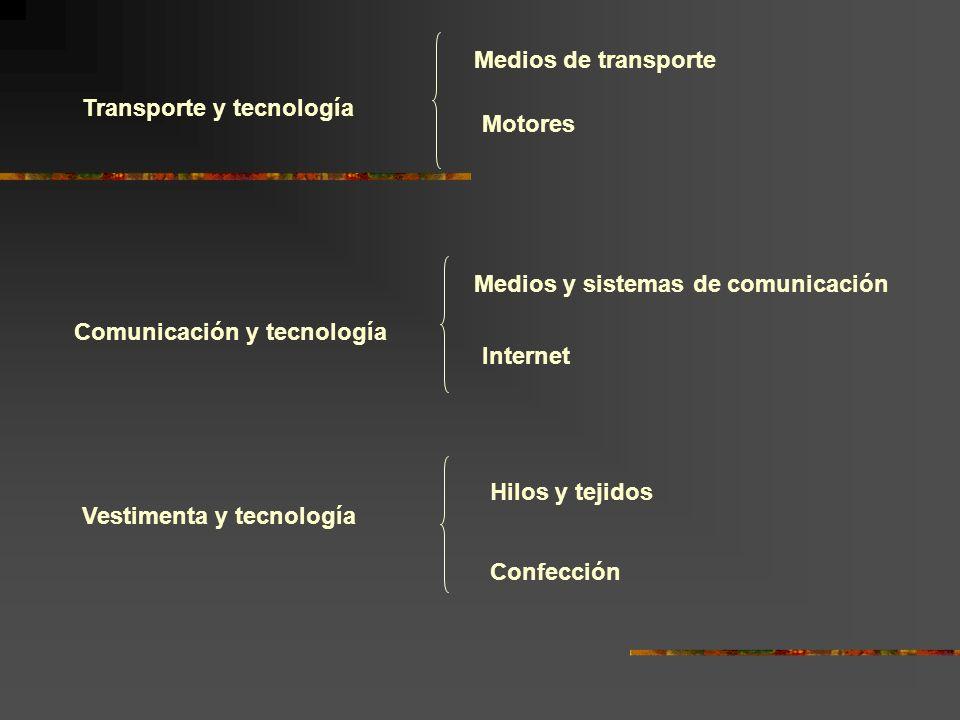 Medios de transporte Transporte y tecnología. Motores. Medios y sistemas de comunicación. Comunicación y tecnología.
