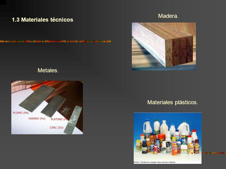 Madera. 1.3 Materiales técnicos Metales. Materiales plásticos.