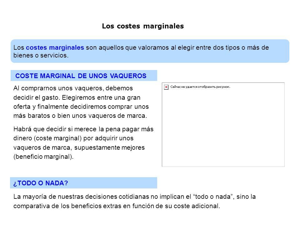 Los costes marginalesLos costes marginales son aquellos que valoramos al elegir entre dos tipos o más de bienes o servicios.