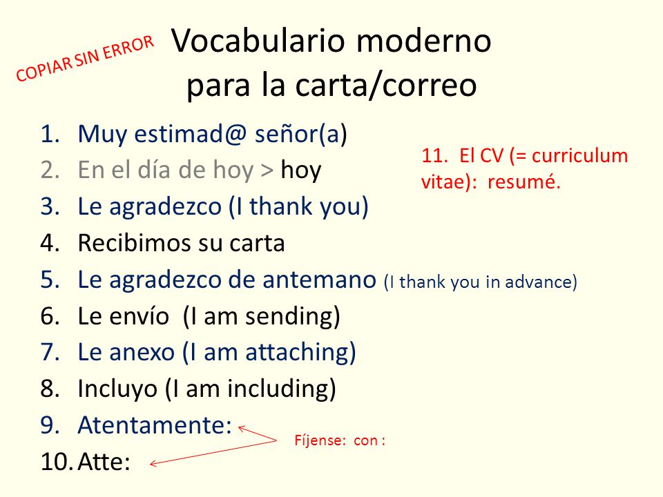 Vocabulario moderno para la carta/correo