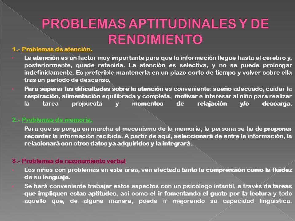PROBLEMAS APTITUDINALES Y DE RENDIMIENTO