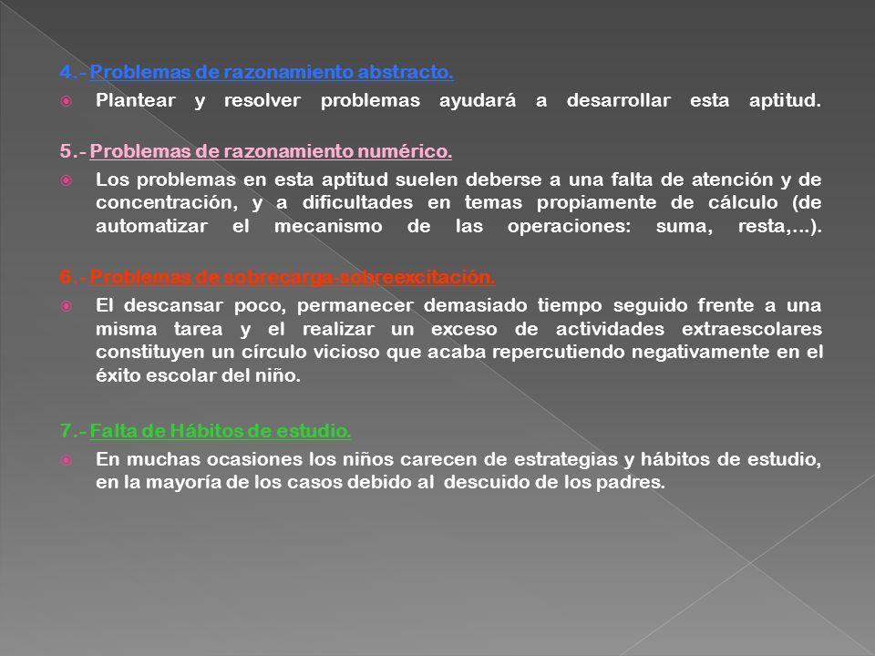 4.- Problemas de razonamiento abstracto.