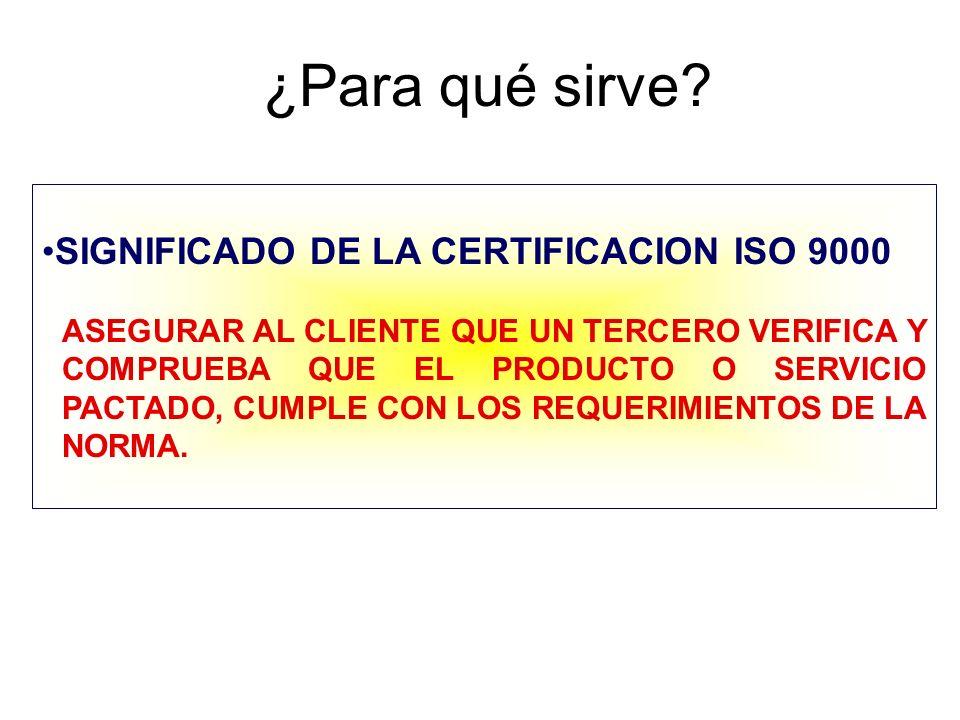 ¿Para qué sirve SIGNIFICADO DE LA CERTIFICACION ISO 9000