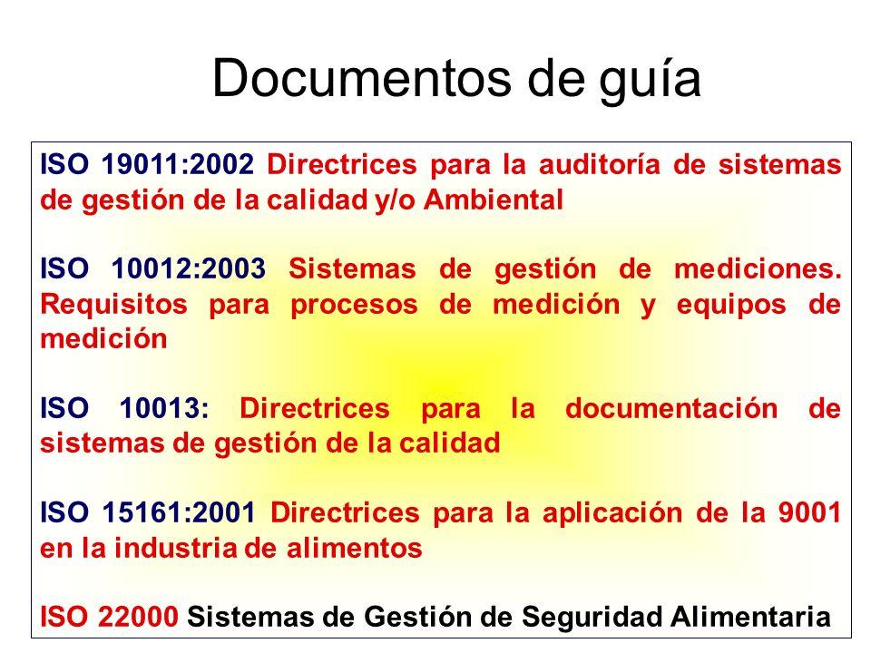 Documentos de guía ISO 19011:2002 Directrices para la auditoría de sistemas de gestión de la calidad y/o Ambiental.