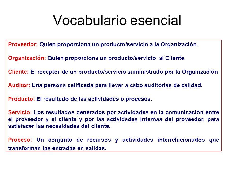 Vocabulario esencial Proveedor: Quien proporciona un producto/servicio a la Organización.